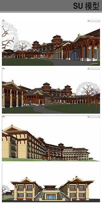 唐风古典建筑模型