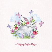 兔子手绘水彩插画素材