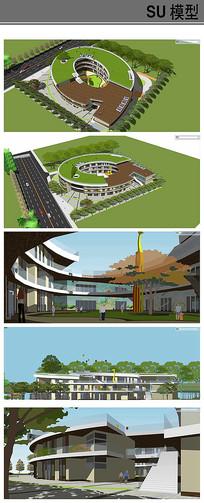 现代屋顶绿化幼儿园模型