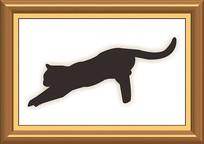 像框里黑猫素材