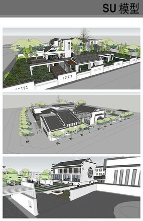 新中式高档酒店模型