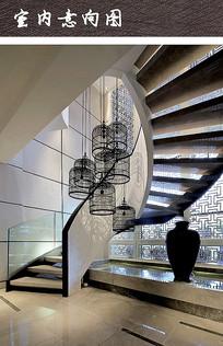 中式别墅会所旋转楼梯设计 JPG