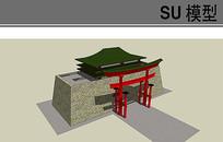 中式城楼模型