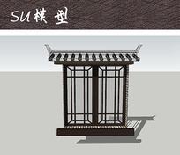 中式建筑窗户SU