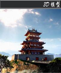 中式建筑塔城3D模型