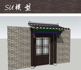 中式住宅大门SU