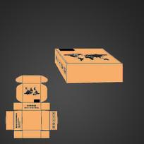 电子产品飞机盒包装展开图