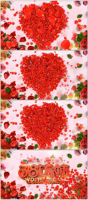 浪漫玫瑰飘散女生节片头视频模板