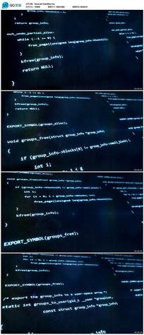 蓝色数字字母代码背景视频
