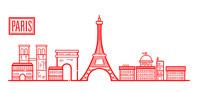 欧洲简约巴黎塔城市插画设计