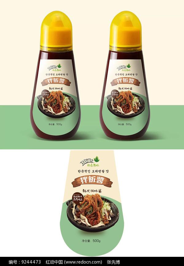 简约韩式辣酱瓶贴包装设计图片