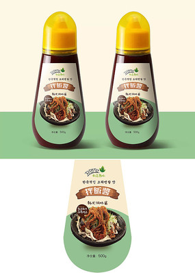 简约韩式辣酱瓶贴包装设计 AI