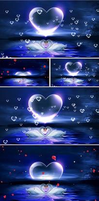 蓝色月亮心形粒子星空天鹅湖视频