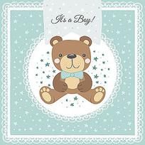 蕾丝小熊包装插图素材