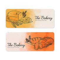 面包水彩画插图素材