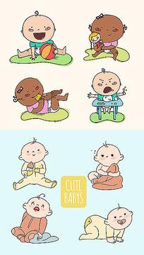 婴儿动物表情包插图素材
