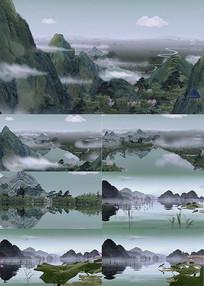 3D水墨山水动画背景视频素材