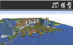 滨水欧式小区建筑SU模型