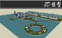 创意滨水景观小区SU模型