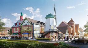 丹麦小镇风车主题建筑效果图