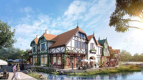 丹麦小镇临湖建筑效果图