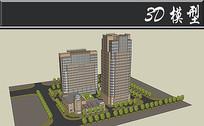古典大型住宅楼盘SU模型