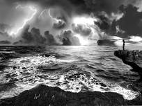 雷电笼罩的大海 PSD