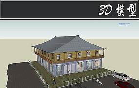 四角屋檐古典沿街建筑SU模型