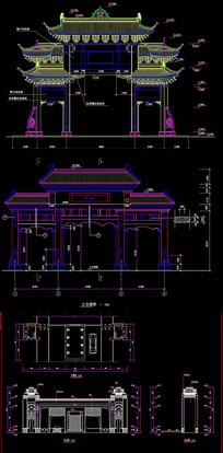 中式大门建筑CAD图 dwg