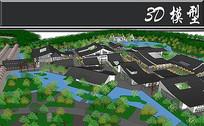 中式建筑景观SU模型