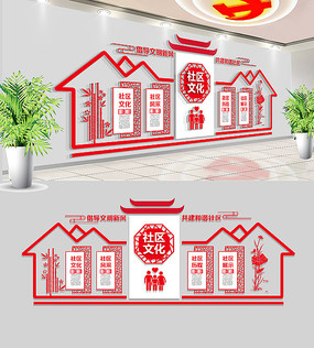 中式企业社区文化墙