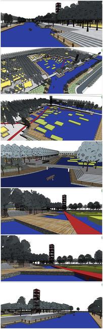 滨河公园景观规划SU模型