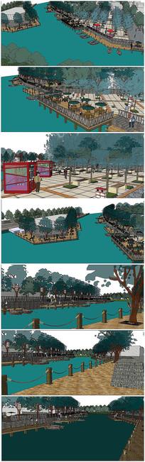 滨河景观广场SU模型