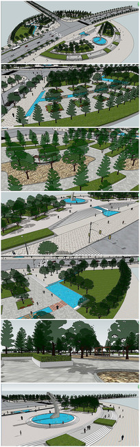 超精细公园广场景观SU模型