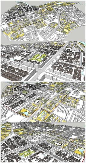 大型景观建筑规划SU模型