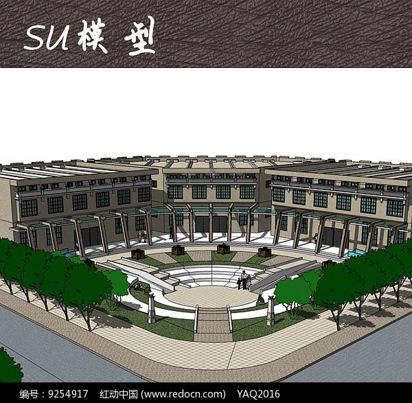 大学校园建筑景观SU图片