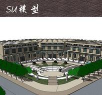 大学校园建筑景观SU