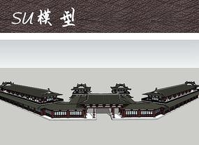 风景区中式建筑模型