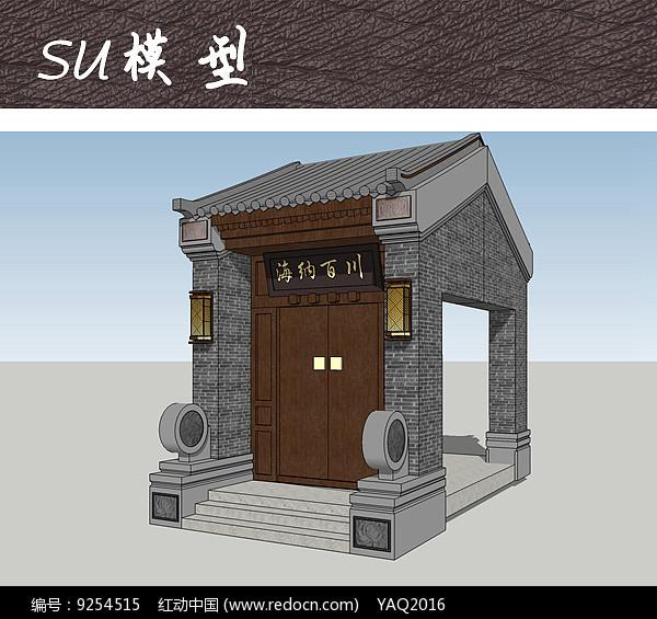 古朴中式住宅大门图片