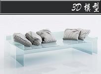 灰色抱枕3D模型