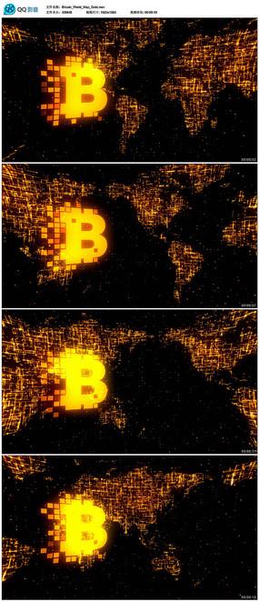 金色世界地图比特币背景视频