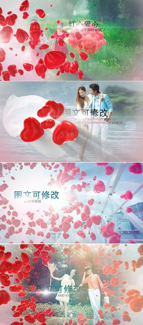 浪漫3D红色爱心婚礼相册模板