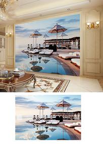 蓝天大海马尔代夫休闲海滩背景墙