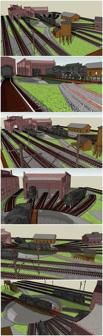 老式火车站景观SU模型