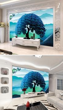 梦幻山水树木风景电视背景墙