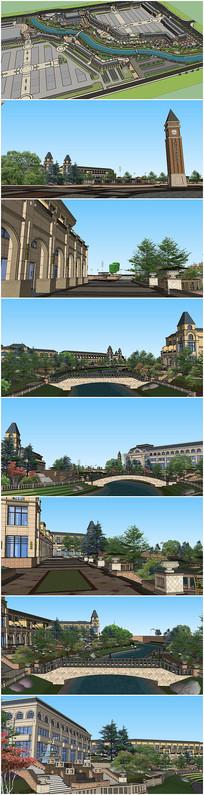 欧式建筑滨河景观规划SU模型