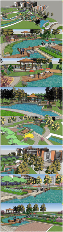 欧式住宅小区景观规划SU模型