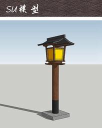 日式庭院灯柱小品SU skp