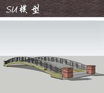 现代中式精美护栏小桥