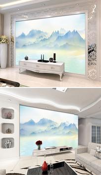 新中式意境山水风景电视背景墙